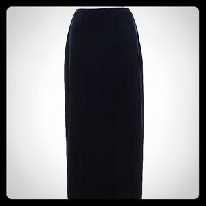 High Waisted Velvet Maxi Skirt With Side Slit